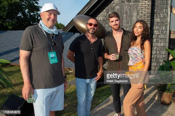 David Soloman, John Amato, Drew Taggart and Chantel Jeffries attend the Hamptons Magazine x The Chainsmokers VIP Dinner at The Barn at Nova's Ark on...