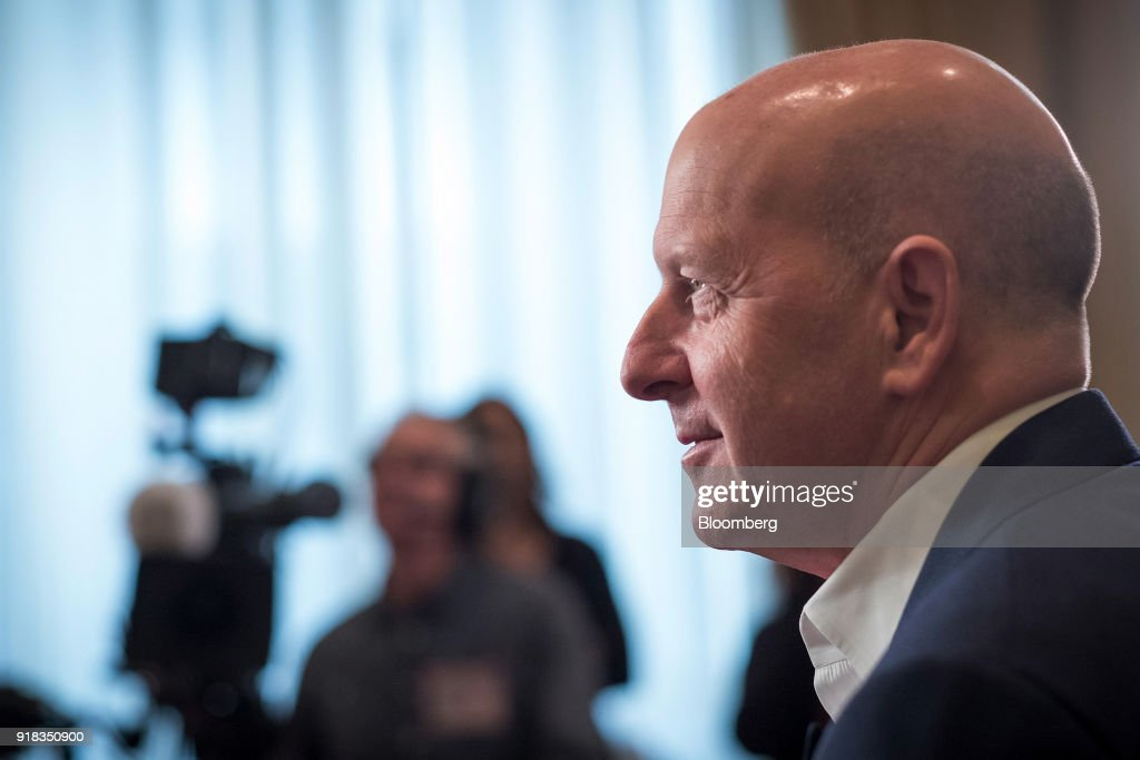 David Solomon, co-president and co-chief operating officer of Goldman Sachs Group Inc., listens during a Bloomberg Television interview at the Goldman Sachs Technology and Internet Conference in San Francisco, California, U.S., on Wednesday, Feb. 14, 2018. Solomon discussed M&A activity, tax reform and the recent market volatility. Photographer: David Paul Morris/Bloomberg via Getty Images