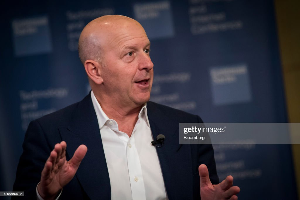 David Solomon, co-president and co-chief operating officer of Goldman Sachs Group Inc., speaks during a Bloomberg Television interview at the Goldman Sachs Technology and Internet Conference in San Francisco, California, U.S., on Wednesday, Feb. 14, 2018. Solomon discussed M&A activity, tax reform and the recent market volatility. Photographer: David Paul Morris/Bloomberg via Getty Images