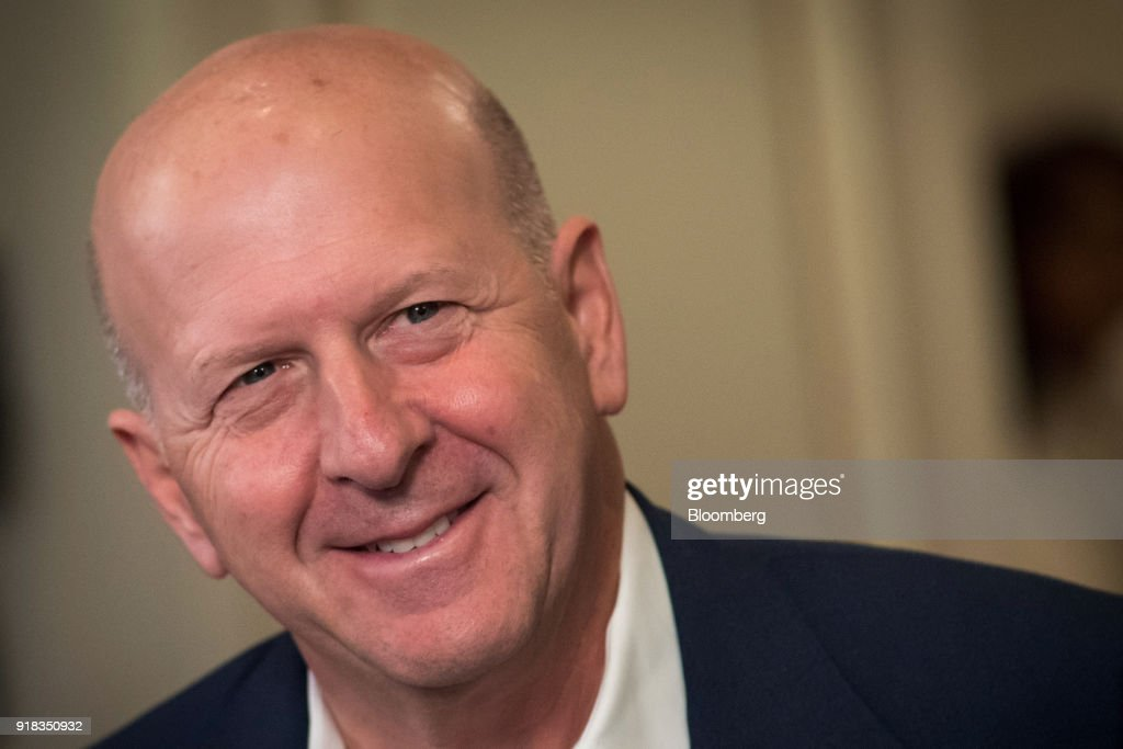 David Solomon, co-president and co-chief operating officer of Goldman Sachs Group Inc., smiles during a Bloomberg Television interview at the Goldman Sachs Technology and Internet Conference in San Francisco, California, U.S., on Wednesday, Feb. 14, 2018. Solomon discussed M&A activity, tax reform and the recent market volatility. Photographer: David Paul Morris/Bloomberg via Getty Images