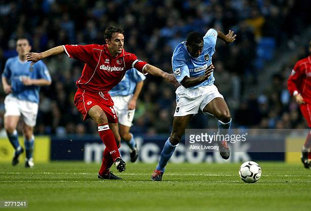 David Sommeil of City holds off George Boateng of Middlesbrough during the FA Barclaycard Premiership match between Manchester City and Middlesbrough...