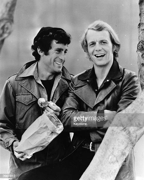 David Soul the American actor with his costar Paul Michael Glaser in the long standing and very popular series of 'Starsky and Hutch' one of the...