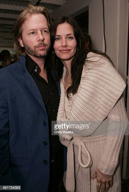 David Spade and Courteney Cox Arquette during Photographer's Gallery Presents Slim Aarons Curated by Kate Spade at Fred Segal Cafe in West Hollywood...