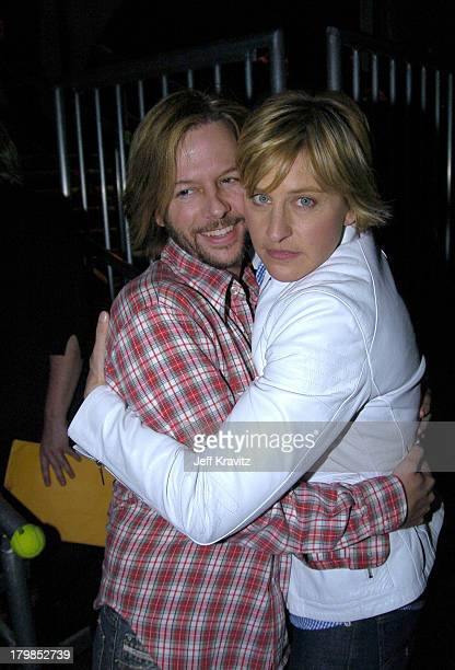 David Spade and Ellen Degeneres during Nickelodeon's 17th Annual Kids' Choice Awards Backstage at Pauley Pavillion in Westwood California United...