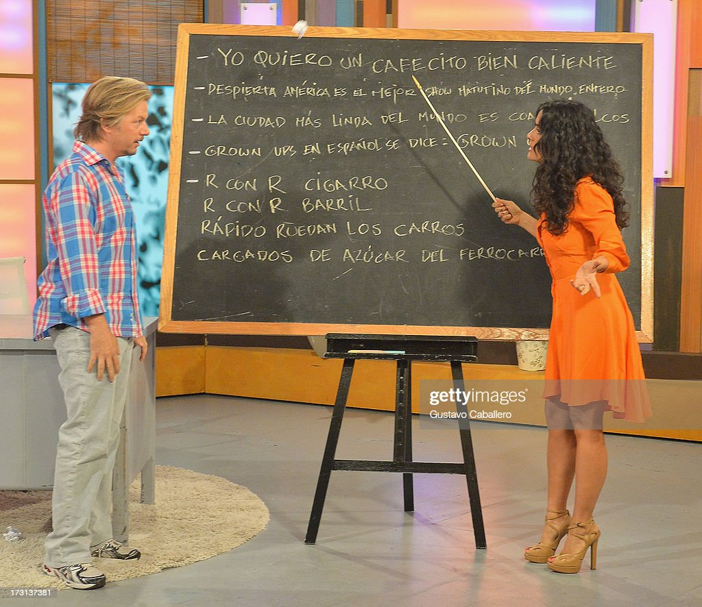 David Spade and Salma Hayek of 'Grown Ups 2' cast appears on Univisions 'Despierta America' to promote the movie at Univision Headquarters on July 8, 2013 in Miami, Florida.
