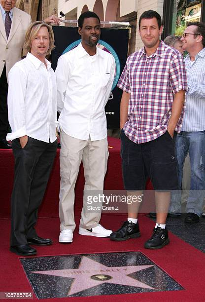 David Spade Chris Rock and Adam Sandler during Chris Farley Honored Posthumously With a Star on the Hollywood Walk of Fame in Hollywood California...