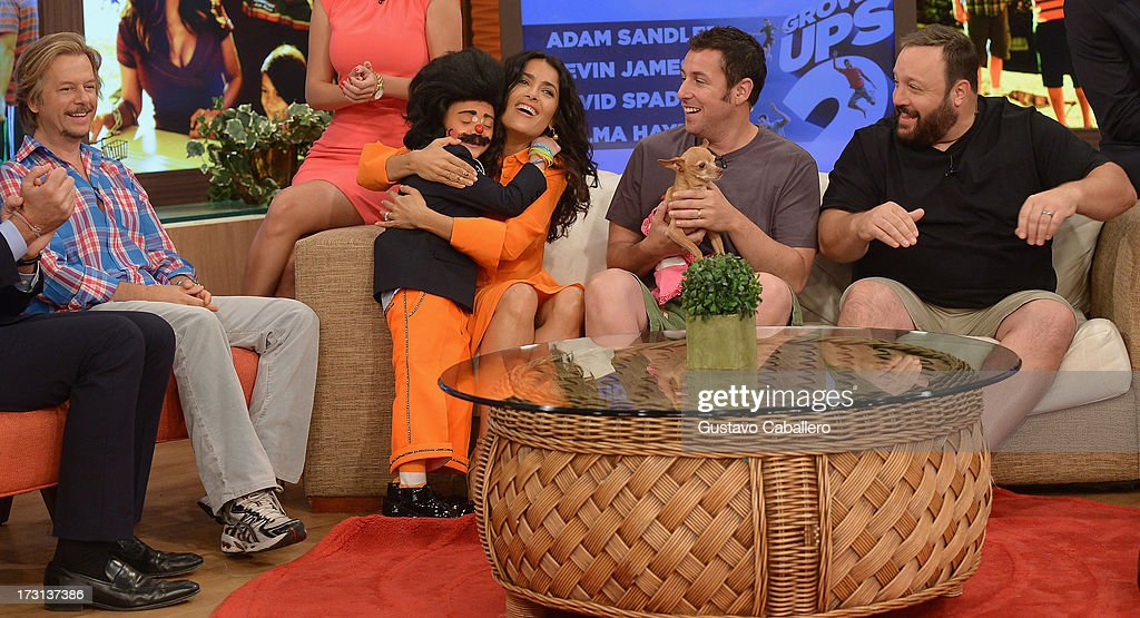 David Spade,Lapicito, Salma Hayek ,Adam Sandler and Kevin James of 'Grown Ups 2' cast appears on Univisions 'Despierta America' to promote the movie at Univision Headquarters on July 8, 2013 in Miami, Florida.