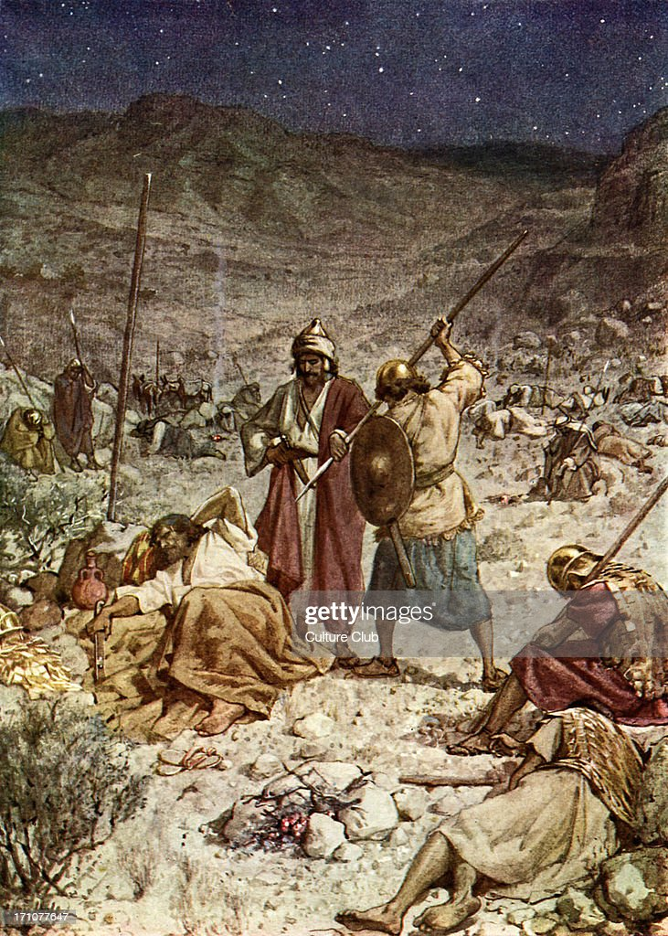 David spares the life of Saul. I Samuel 26: 8 - 11. 'Then said... News  Photo - Getty Images