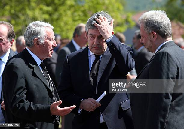 David Steel and former Prime Minister Gordon Brown attend the funeral of former Liberal Democrat leader Charles Kennedy at St John's Roman Catholic...