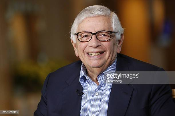 David Stern commissioner emeritus of the National Basketball Association smiles during a Bloomberg Television interview at the annual Milken...