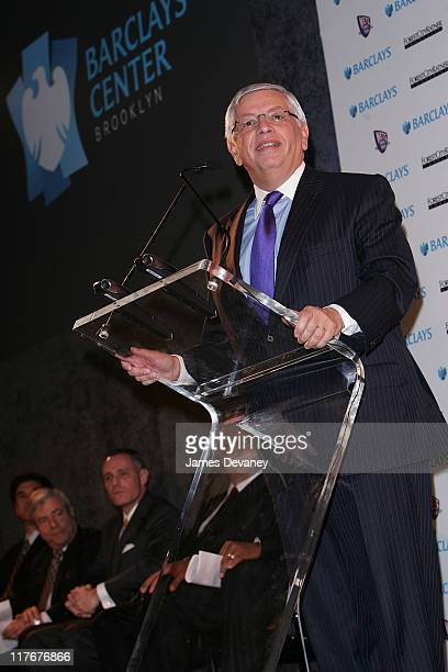 David Stern during NJ Nets and Forest City Ratner Press Conference in Brooklyn at Brooklyn Museum of Art in Brooklyn New York United States