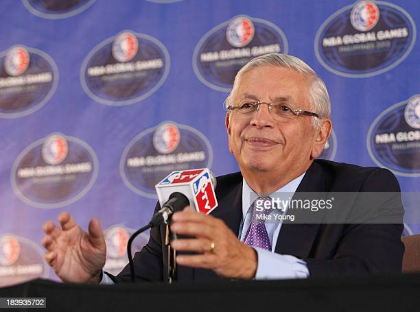 David Stern NBA Comissioner at a pre- press conference before the NBA match between the Houston Rockets and the Indiana Pacers at the Mall of Asia...