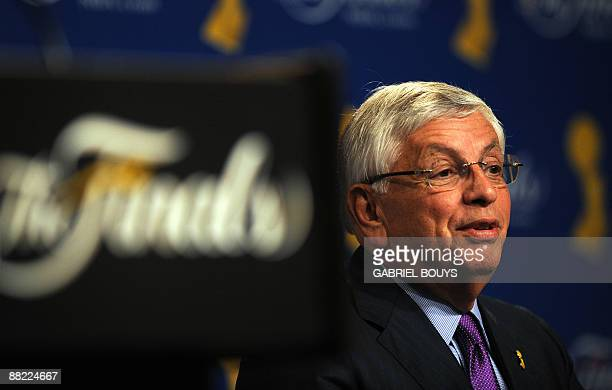 David Stern, NBA Commissioner, gives a press conference before the Game 1 of the NBA final between Los Angeles Lakers and Orlando Magic at the...