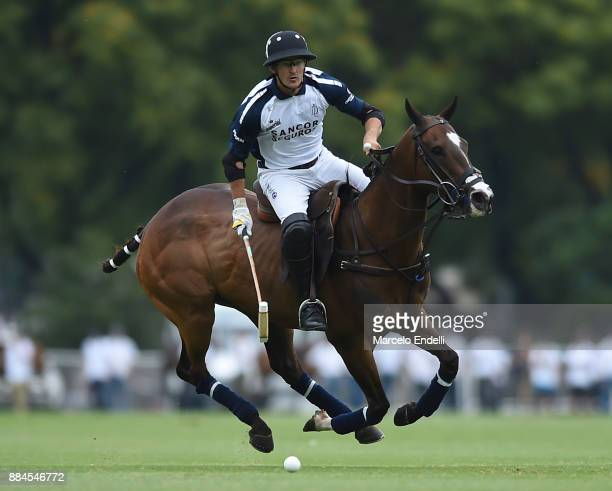 David Stirling of La Dolfina drives the ball during the final match between La Dolfina and La Ellerstina as part of the HSBC 124° Argentina Polo Open...