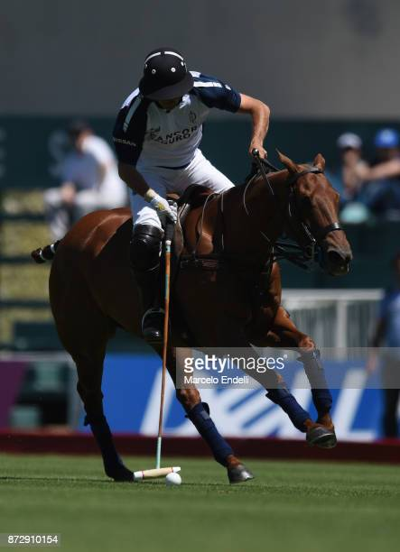 David Stirling of La Dolfina hits the ball during a match between La Dolfina and La Esquina L M as part of the HSBC 124° Argentina Polo Open at Campo...