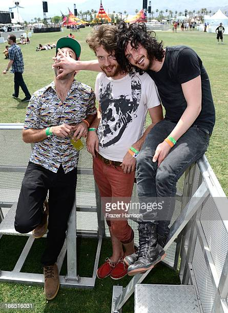 David Stitch Rappaport Joseph Braley and Jordan Cook of Reignwolf attend day 2 of the 2013 Coachella Valley Music Arts Festival at The Empire Polo...