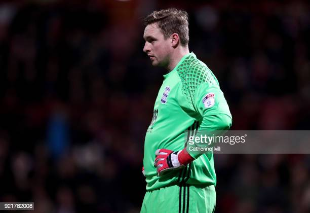 David Stockdale of Birmingham City during the Sky Bet Championship match between Brentford and Birmingham City at Griffin Park on February 20 2018 in...