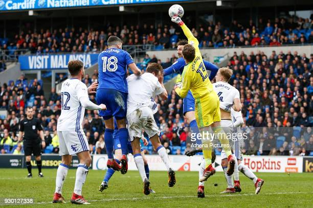 David Stockdale of Birmingham City punches the ball away during a corner during the Sky Bet Championship match between Cardiff City and Birmingham...