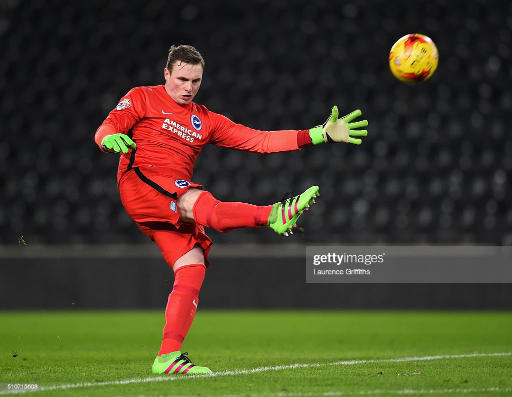 David Stockdale of Brighton and Hove Albion in action during the Sky Bet Championship match between Hull City and Brighton and Hove Albion at KC Stadium on February 16, 2016 in Hull, United Kingdom.