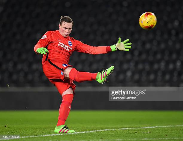 David Stockdale of Brighton and Hove Albion in action during the Sky Bet Championship match between Hull City and Brighton and Hove Albion at KC...