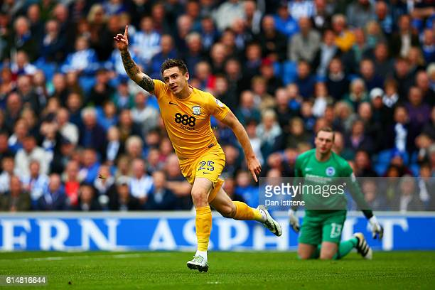 David Stockdale of Brighton Hove Albion reacts as Jordan Hugill of Preston North End celebrates scoring the opening goal during the Sky Bet...