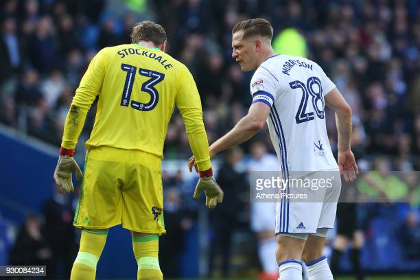 David Stockdale talks with Michael Morrison of Birmingham City after Nathaniel MendezLaing of Cardiff City scores his sides first goal of the match...