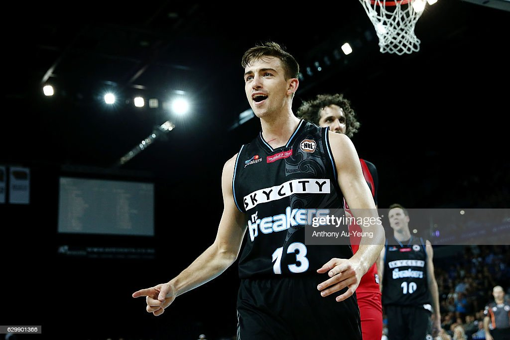 David Stockton of the Breakers reacts during the round 11 NBL match between New Zealand Breakers and Perth Wildcats at Vector Arena on December 15, 2016 in Auckland, New Zealand.