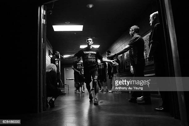 David Stockton of the Breakers runs out during the players introduction during the round 10 NBL match between the New Zealand Breakers and the...