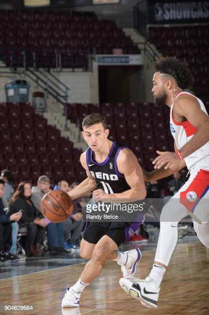 David Stockton of the Reno Bighorns drives to the basket against the Delaware 87ers during NBA GLeague Showcase Game 26 on January 13 2018 at the...