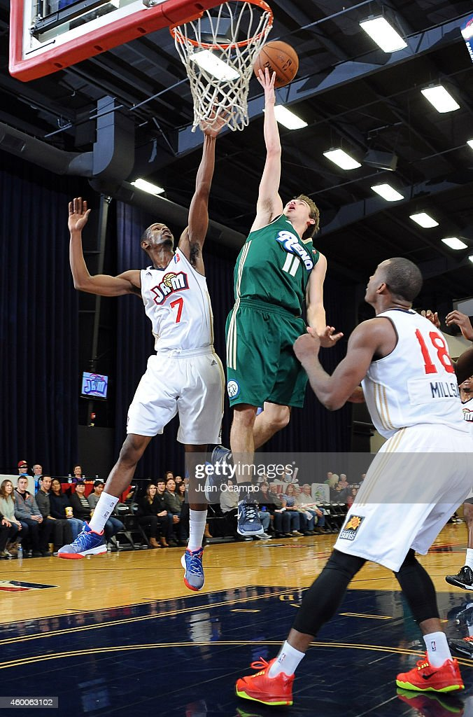 David Stockton #11 of the Reno Bighorns goes to the basket against Renaldo Major #7 of the Bakersfield Jam during a D-League game on December 5, 2014 at Dignity Health Event Center in Bakersfield, California.