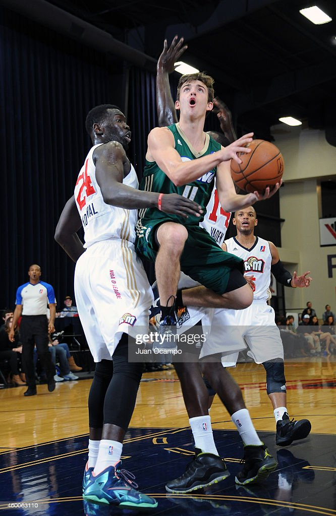 David Stockton #11 of the Reno Bighorns goes to the basket against the Bakersfield Jam during a D-League game on December 5, 2014 at Dignity Health Event Center in Bakersfield, California.