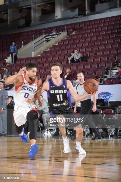 David Stockton of the Reno Bighorns looks to pass the ball against the Delaware 87ers during NBA GLeague Showcase Game 26 on January 13 2018 at the...