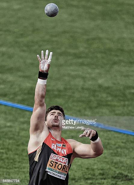 David Storl of Germany prepares for a throw during the Mens Shot Putt Final during day five of the 23rd European Athletics Championships at Olympic...