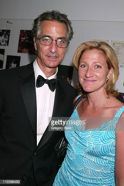 David Strathairn and Edie Falco during Opening Night of the 43rd Annual New York Film Festival 'Good Night and Good Luck' Premiere Green Room at...