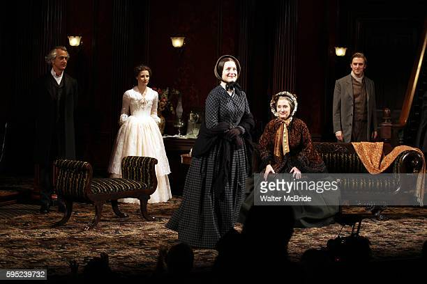 David Strathairn Jessica Chastain Dee Nelson Caitlin O'Connell and Dan Stevens during the Broadway Opening Night Performance Curtain Call for 'The...