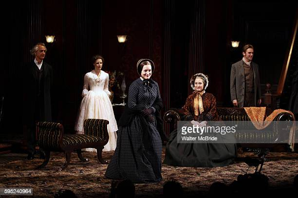 David Strathairn Jessica Chastain Dee Nelson Caitlin O'Connell and Dan Steven during the Broadway Opening Night Performance Curtain Call for 'The...