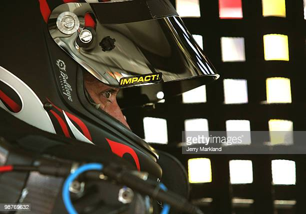David Stremm driver of the Air Natioinal Guard Ford sits in his car during practice for the Sprint Cup Series CROWN ROYAL Presents the Heath Calhoun...