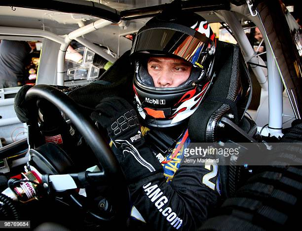 David Stremme driver of the Air Natioinal Guard Ford sits in his car during practice for the NASCAR Sprint Cup Series CROWN ROYAL Presents the Heath...