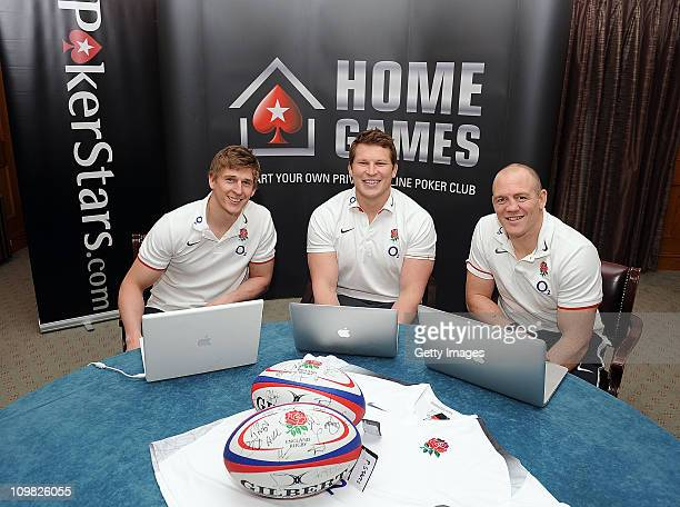 David Strettle Dylan Hartley and Mike Tindall pose for pictures during the PokerStars England Rugby Challenge at Pennyhill Park on 7 March 2011 in...