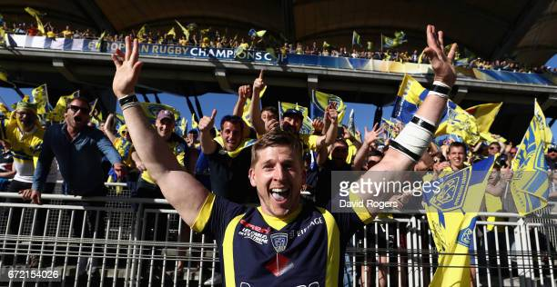 David Strettle of Clermont Auvergne celebrates after their victory during the European Rugby Champions Cup semi final match between ASM Clermont...