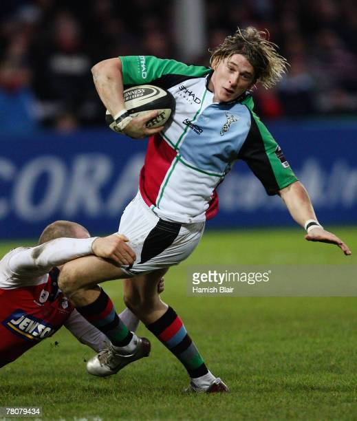 David Strettle of Harlequins is tackled during the Guinness Premiership match between Gloucester and Harlequins at Kingsholm Stadium on November 24,...