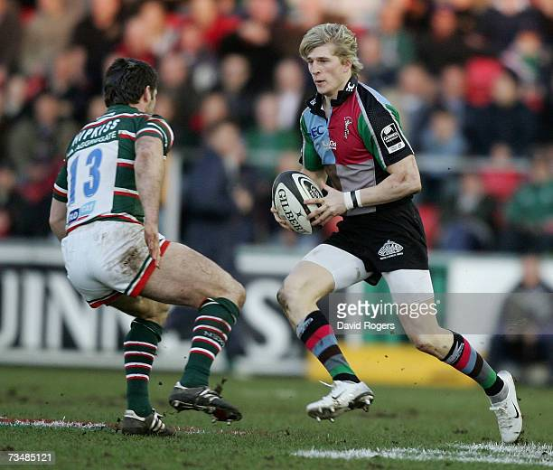 David Strettle the Harlequins wing takes on Dan Hipkiss of Leicester during the Guinness Premiership match between Leicester Tigers and NEC...