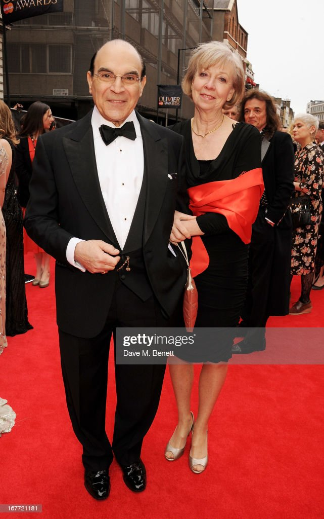 David Suchet (L) and Sheila Ferris arrive at The Laurence Olivier Awards 2013 at The Royal Opera House on April 28, 2013 in London, England.