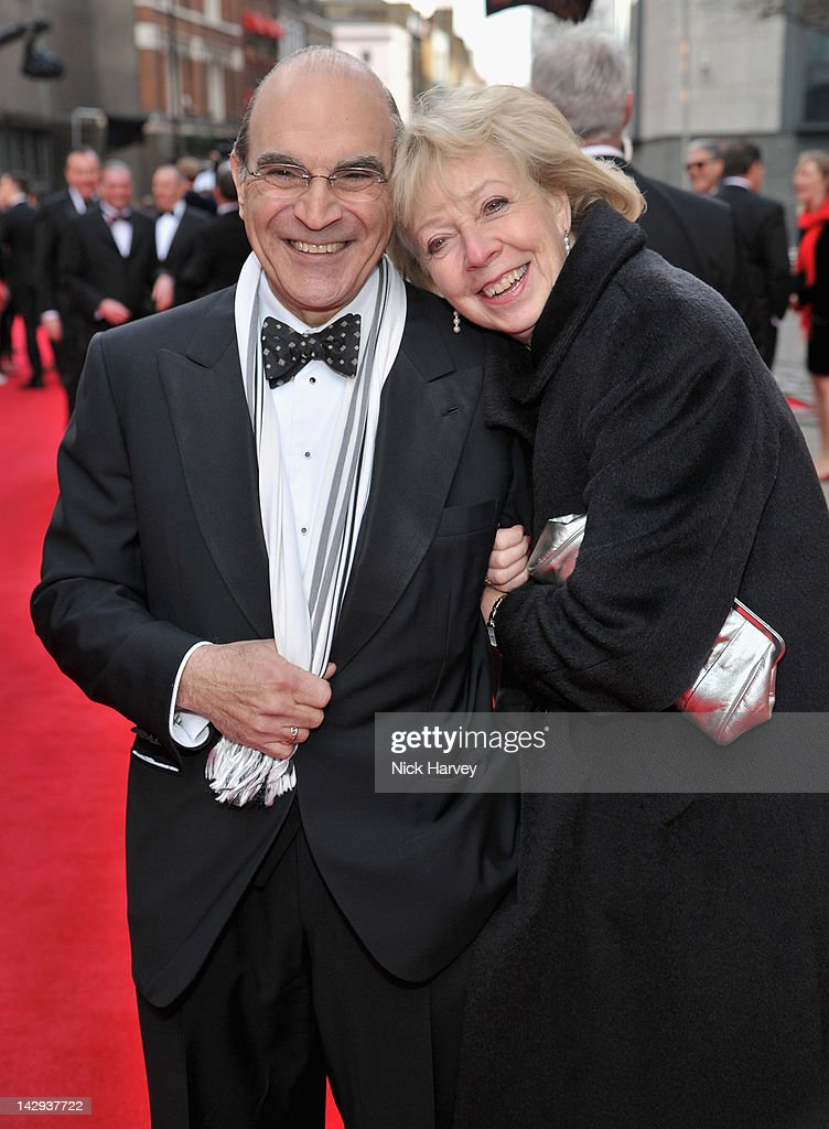 David Suchet and Sheila Ferris arrive at the Olivier Awards 2012 at The Royal Opera House on April 15, 2012 in London, England.