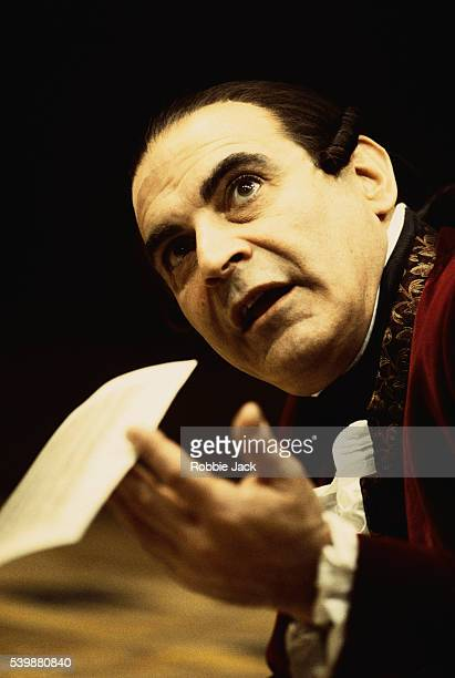 David Suchet as Antonio Salieri performs in Peter Shaffer's Amadeus at the Old Vic Theatre in London England