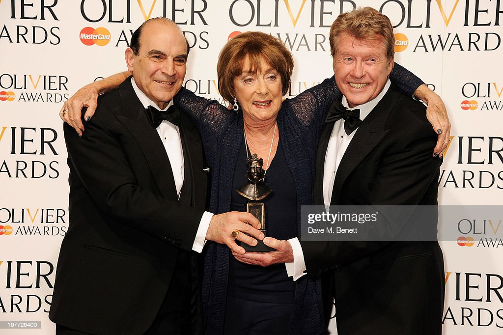 David Suchet, Gillian Lynne, winner of the Special Award, and Michael Crawford pose in the press room at The Laurence Olivier Awards 2013 at The Royal Opera House on April 28, 2013 in London, England.