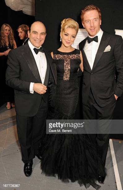 David Suchet Sheridan Smith and Damian Lewis pose in the press room at The Laurence Olivier Awards 2013 at The Royal Opera House on April 28 2013 in...
