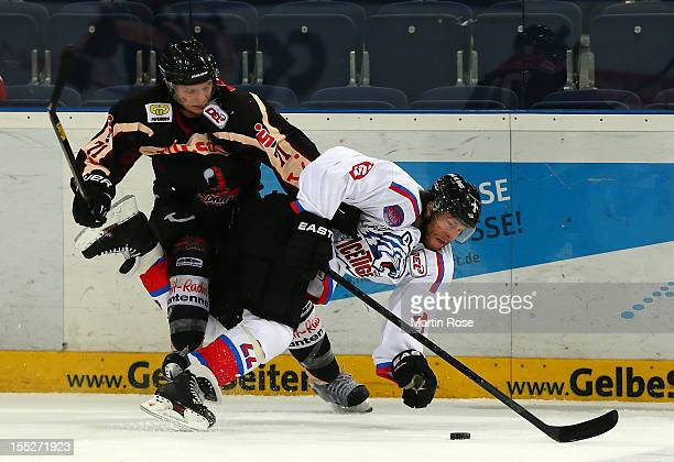 David Sulkovsky of Hannover and Yan Statsny of Nuernberg battle for the puck during the DEL match between Hannover Scorpions and Thomas Sabo Ice...