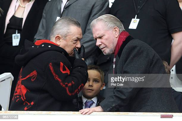David Sullivan and David Gold Chairmen of West Ham United during the Barclays Premier League match between West Ham United and Sunderland at Upton...