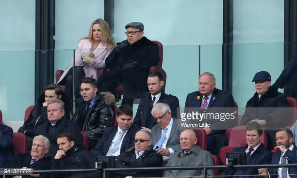 David Sullivan and David Gold , Joint Chairmen of West Ham United looks on during the Premier League match between West Ham United and Southampton at...
